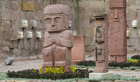 Idol statue from Tiwanaku in La Paz, Bolivia. Ancient idol statues, sculptures from Tiwanaku inca archaeological site on the square in La Paz, Bolivia Royalty Free Stock Photography
