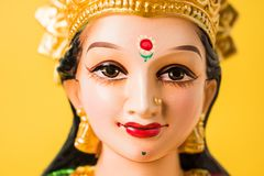 Lakshmi or laxmi puja on diwali festival. Idol worshipping of Hindu Goddess Lakshmi - Lakshmi Puja is a Hindu religious festival that falls on Amavasya new moon Stock Images