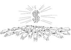 Idolatry. Drawing persons chr bow to money Royalty Free Stock Photos