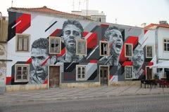 Idole Portugalska piłka nożna malowali na fasadzie dom obraz stock