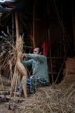 Idole przygotowywają dla nadchodzącego Durga Puja festiwalu świętowali w India obraz stock