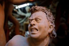 Idolen die op aanstaande die Durga Puja-festival worden voorbereid in India wordt gevierd Royalty-vrije Stock Afbeeldingen