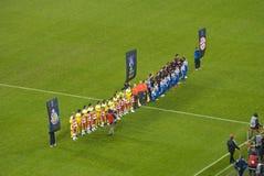 Idoli di gioco del calcio - Gioco del calcio-bambini Immagine Stock Libera da Diritti