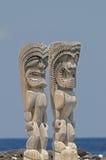 Idoli di Tiki alla grande isola dell'Hawai. immagini stock