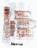 Idolo del messicano del punto di riferimento di schizzo dell'illustrazione Fotografia Stock