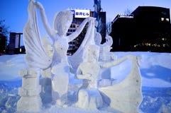 Idolo della dea nel festival giapponese Hokkaido della neve Fotografie Stock