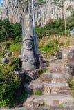 Idolo di pietra del monastero al tempio buddista di Sanbanggulsa a Sanbangs Immagini Stock Libere da Diritti