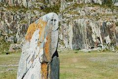 Idolo di pietra su un prato circondato dalle montagne, Altai, Russia immagini stock libere da diritti