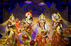 Idols of Lord Krishna and Radha in ISKCON Temple Chennai Royalty Free Stock Images