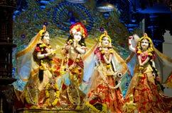 Idols of Lord Krishna and Radha in ISKCON Temple Chennai Stock Image