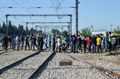 Idomeni叙利亚难民营,在希腊马其顿边界附近 欧洲移居危机 巴尔干路线 库存图片