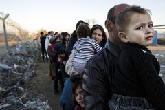 Idomeni Greek border. Grece - Idomeni. Refugees try to cross the greek border to Macedonia (fyrom) but only sirian, afghan and iraqi can do it royalty free stock photography