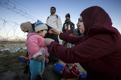Idomeni Greek border. Grece - Idomeni. Refugees try to cross the greek border to Macedonia (fyrom) but only sirian, afghan and iraqi can do it royalty free stock photos