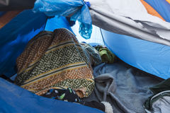 Idomeni, Griechenland - 19. August 2015: Hunderte von den Immigranten sind i Lizenzfreies Stockbild