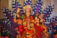 Idool van godin Durga tijdens Navratri royalty-vrije stock foto's