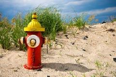 Idrante antincendio variopinto sulla spiaggia Fotografia Stock