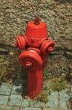 Idrante rosso su un vicolo pavimentato immagini stock