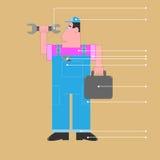 Idraulico del lavoratore del meccanico in camici blu illustrazione vettoriale