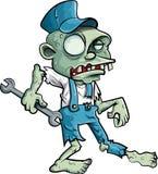 Idraulico dello zombie del fumetto con la chiave Fotografia Stock Libera da Diritti