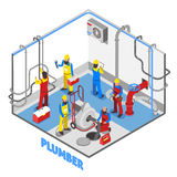 Idraulico Isometric People Composition royalty illustrazione gratis