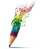 Idérik blyertspenna med musikanmärkningar. Royaltyfri Fotografi