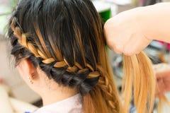 Idérik brun hårstil för lång flätad tråd i salong Royaltyfri Fotografi