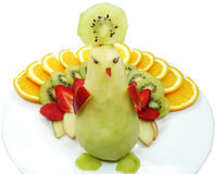 Idérik form för fågel för påfågel för fruktbarnefterrätt Royaltyfria Bilder