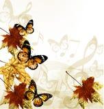 Idérik konstmusikbakgrund med höstleafs, noterar och butten Royaltyfri Fotografi