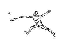 Idérik kontur av den abstrakta badmintonspelaren Royaltyfria Foton
