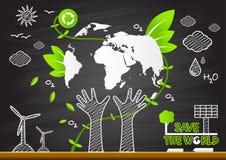 idérik teckning Globala ekologiska begrepp för grön världskarta Royaltyfri Fotografi