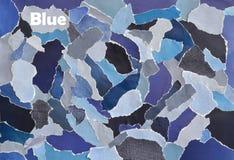 Idérikt ark för collage för bräde för atmosfärkonstlynne i färgidéblått, grå färger, vit och grov bomullstvill som göras av rivet Royaltyfria Bilder