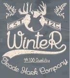 Idérikt grafiskt logomeddelande för vinterdesign vektor Royaltyfri Bild