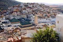 idriss摩洛哥moulay最近的城镇volubilis 库存图片