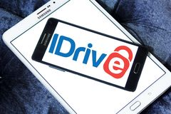 IDrive company logo. Logo of IDrive company on samsung mobile. IDrive Inc. is a technology company that specializes in data backup applications. Its flagship Royalty Free Stock Photography