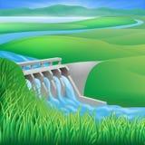 Idro illustrazione di energia di energia idroelettrica della diga Immagine Stock