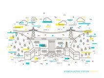 Idro illustrazione elettrica lineare di vettore della centrale elettrica di energia idroelettrica della stazione Immagine Stock