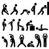 idrotts- övningsmanfolk som sträcker symbol Arkivbilder