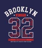 Idrotts- Brooklyn NYC typografidesign Arkivfoto