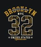 Idrotts- Brooklyn NYC typografidesign, vektorbild Arkivfoton