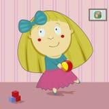 Idrotts- flicka med en boll Royaltyfria Foton