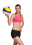 Idrotts- flicka med en volleybollboll Royaltyfri Bild