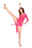 Idrotts- kvinnadans i en sexig klänning Arkivfoto