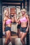 Idrotts- kvinnor som visar muskler Fotografering för Bildbyråer