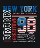 Idrotts- New York Bronx typografidesign Royaltyfria Foton