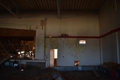 Idrottshall i en övergiven skola Arkivfoton