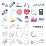 Idrottshall- och utbildningstecknad filmsymboler i uppsättningsamlingen för design Idrottshall- och utrustningvektorsymbolet lage vektor illustrationer