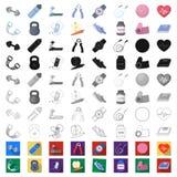 Idrottshall- och utbildningstecknad filmsymboler i uppsättningsamlingen för design Idrottshall- och utrustningvektorsymbolet lage stock illustrationer