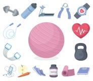 Idrottshall- och utbildningstecknad filmsymboler i uppsättningsamlingen för design Idrottshall- och utrustningvektorsymbolet lage royaltyfri illustrationer