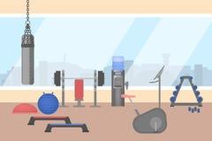 Idrottshallruminre med sportutrustning inom royaltyfri illustrationer