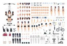 Idrottskvinna- eller för konditionflicka DIY sats Uppsättning av kroppsdelar för kvinna` s, ställingar, sportutrustning, isolerad vektor illustrationer